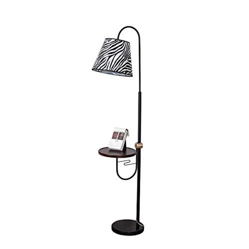 Staande lampen, staande lampen, Amerikaans, eenvoudige smeedijzeren staande lamp, creatieve Zebra-gestreepte weefsel-lampenkap, marmeren sokkel, woonkamer-staande lamp, art- en wijshoogteverstelbaar