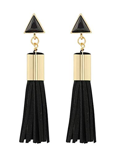 collar de Mujer pequeña joyería Elegante Cristal Triangular Tono de Oro de la Moda Pendientes Largos de la Borla de Cuero Padant, Nombres de Colores: Rojo Pulsera (Color : Black)