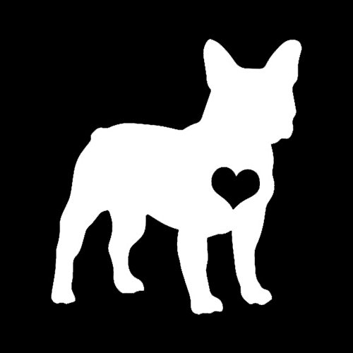 Makarios LLC Frenchie Love Pets Dogs Decal Vinyl Sticker Cars Trucks Vans Walls Laptop MKR| White |5.5 x 5|MKR296