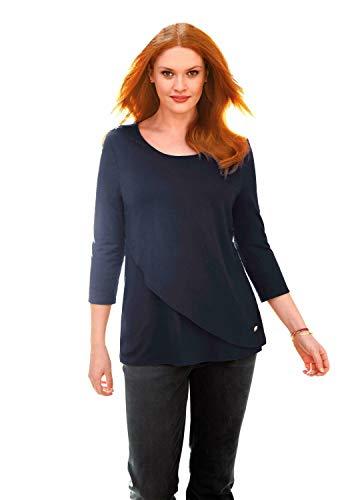 ANNA AURA Damen 3/4-Arm-Shirt Rundhals-Shirt mit 3/4-Arm Logo