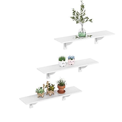 Wandregal 3er Set Eckregal 80x20cm Schweberegal Bücherregal Wandmontage Schwebende dekorative Regale für Schlafzimmer Wohnzimmer Küche Flur Weiß Holz