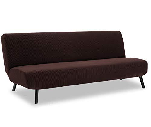 TIANSHU Sofabezug ohne armlehnen 3 sitzer,Spandex Couchbezug ohne armlehne Elastischer Antirutsch Stretchhusse Weich Stoff(Ohne armlehnen,Schokolade)