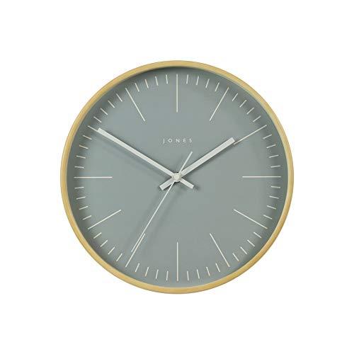 JONES CLOCKS® Scandi Minimalistische Wanduhr Leichtes Sperrholz Rundrahmen mit farbigem Zifferblatt 25cm Für Stilvolles Zuhause Küche Esszimmer Wohnzimmer (Grau)