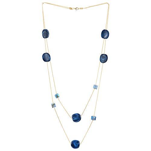 COOLSTEELANDBEYOND Elegante Gold Statement Halskette Zwei Strang Lange Kette mit Blau Würfel Kristall Perlen und Kreis Charme Anhänger