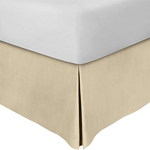 Utopia Bedding Bed Skirt - Soft Quadruple Pleated Dust Ruffle - Easy Fit with 15 Inch Tailored Drop - Hotel Quality, Shrinkage and Fade Resistant (Twin, Beige)