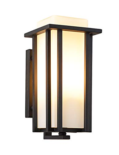 EERU Outdoor Exterior Wall Lantern Outdoor Wall Sconce as Porch Lighting Fixtures Wall Mount, Weather & Rust Resistant, Black Finish with Frosted Glass for Exterior House Front Porch Garage Driveway