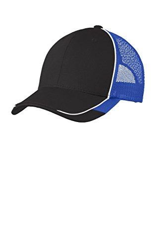 Port Authority® Colorblock Mesh Back Cap. C904 Black/ White/ True Royal OSFA