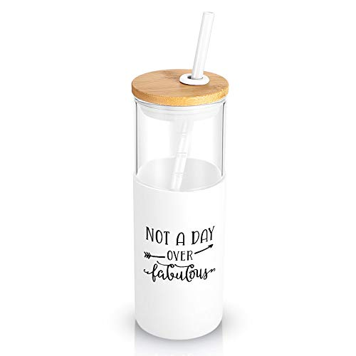 Tronco 24 OZ Glass Tumbler with Straw,Gift for Women/Mom,Glass Tumbler With Silicone Sleeve Straw,Wide Mouth Water Bottle Iced Coffee Cup-BPA free