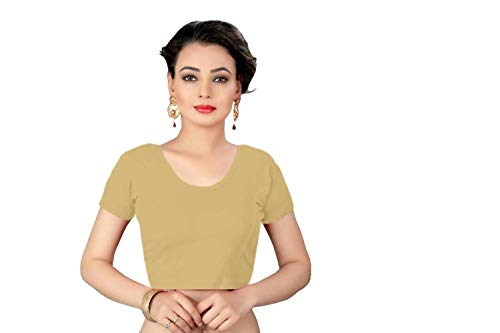 crazy bachat Indian Ethnic Design Stretchable Cotton Lycra Blouse Beige Tops Readymade Saree Blouse Short Sleeve Crop Top