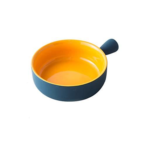 Cuenco De Arroz Al Horno Mango De Cerámica Cuenco Para Hornear Plato Para Horno De Pasta Vajilla Simple Para El Hogar Sartén Para Hornear 15.5 * 5.5cm Redondo con asa (bicolor verde y amarillo)
