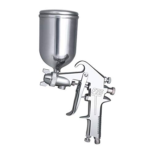 Rrtizan F-75G HVLP Spray Gun, Gravity paint sprayer machine, with 400cc Capacity Aluminum Cup, 2.0-5.0 CFM (Cubic feet per Minute), 44-73 PSI, 1.5 mm Tip