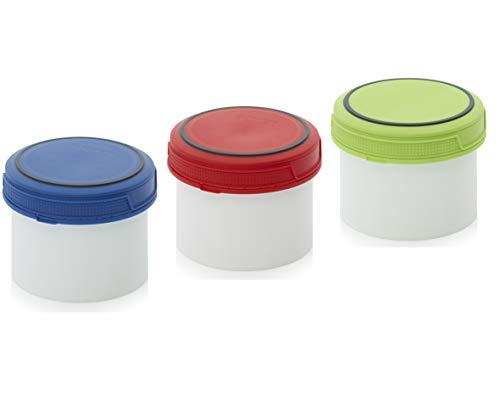 MARKESYSTEM - Barattoli ermetici Catering Premium - (0,5 litri, 3 bottiglie) - Contenitore con coperchio a vite - Per alimenti freddo e caldo - liquidi e solidi - coperchi 3 colori + kit etichettato