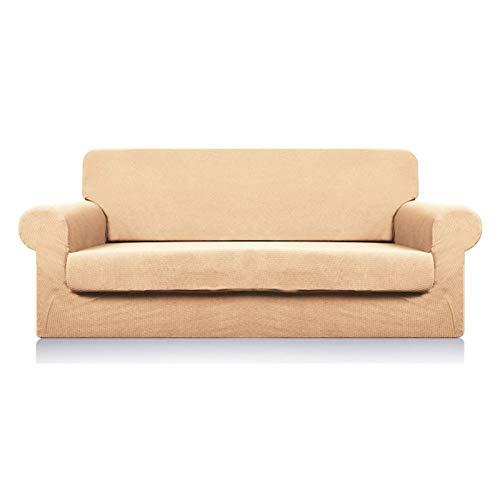 CENPENYA Fundas de sofá elásticas para Cojines Fundas de sofá para Muebles de Sala Fundas con Fondo elástico, Tela Duradera de Spandex (de Color Crema,3 plazas)