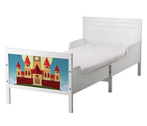Set Möbelaufkleber für Ikea SUNDVIK Bett Schlafzimmer Burg Schloss Mond Ritterburg Prinz Kat2 Kinderzimmer SU2 Aufkleber Möbelfolie sticker (Ohne Möbel) Folie 25U2509