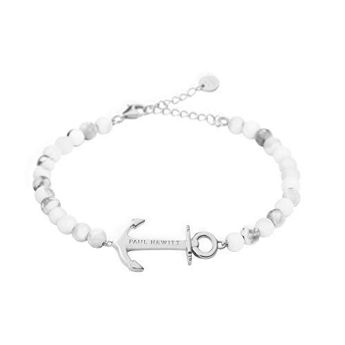 PAUL HEWITT Bracelet Femme en Perles Anchor Spirit - Cadeau Femme, Bracelet chaîne Femme (Couleur marbre) avec Bijou Ancre en Acier Inoxydable (argenté)