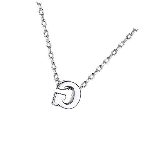 Collar con colgante de letra de plata de ley S925 para mujer con iniciales, encantos de joyería G plata estilo 1