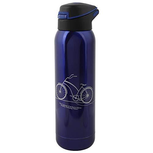 Student Vacuum Cup reisfles met rietje MEERWEG Verpakking socialme-eu blauw