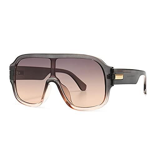 MINGQIMY Gafas de Sol Overseized One Lens Square Goggle Gafas de Sol Hombres Mujeres Moda Shades UV400 Vasos Vintage (Lenses Color : C4gray)