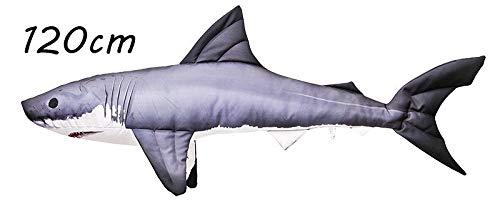 Gaby Kissen Kuscheltier Fisch Stofftier Plüschtier Plüschfisch Geschenkidee TOP! (Weiße Hai 120cm)