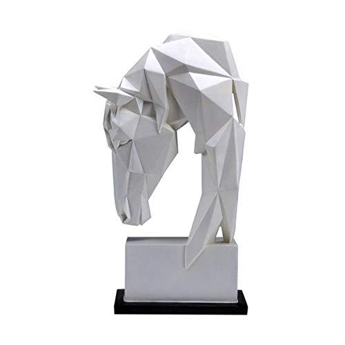 noyydh Adornos de la Cabeza de Caballo Animal Resina Decoración del hogar Nordic Geométrico Origami Artesanía Muebles Muebles Sala de Estar Escritorio Decoración Estatuilla (Size : Large)