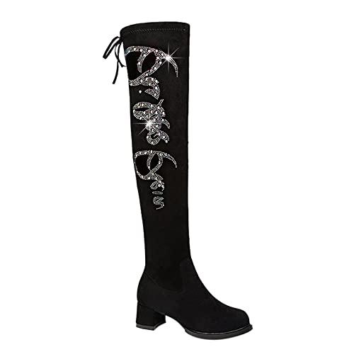 Xiand Stiefeletten Damen Western Cowboystiefel Spitz Zehen Halbhohe Stiefel Mit Blockabsatz Schuhe Cowgirl Casual Stiefel Stacked Heel, Westernstiefel, Besticktes Leder