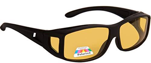 NuVew Polarized Night Vision/Driving Unisex Sunglasses - (Yellow Lens | Black Frame | Large)