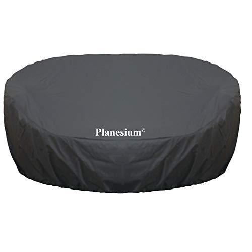 Planesium Premium Abdeckplane Sonneninsel RUND Abdeckhaube Liegeinsel Hülle Lounge Abdeckung Runder Schutzhülle Atmungsaktiv Wasserdicht Polyrattan (170cm Breite x 40cm Höhe, Anthrazit)