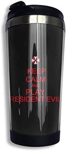 Qurbet Tazza da Viaggio da caffè, Keep Calm and Play Resident Evil Coffee Cups Stainless Steel Bottiglia d'acqua Cup Travel Mug Coffee Tumbler with Spill Proof Lid