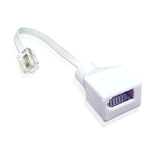 RJ11 zu BT Telefon Adapter / 1x RJ11 Stecker - 1x BT Buchse/Steckdose Festnetz Telefonstecker/Weiß/iCHOOSE