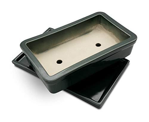 K&K Pot à bonsaï rectangulaire avec soucoupe résistante au gel en céramique Vert 29 x 18 x 7 cm