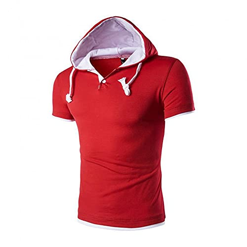 Sudadera Capucha Hombre Moda Empalme Manga Corta Verano Hombre Shirt Lazada Hombre Casuales Camisas Casual Stretch Gym Jogging Wicking Hombre Camiseta A-Red XL