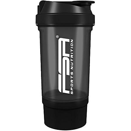 Protéine Shaker avec compartiment à poudre, 500 ml, Lavable au lave vaisselle et sans BPA, FSA Nutrition, Noires