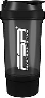 Shaker 500 ml con compartimento para los polvos, Preparador de batidos de proteínas y BCAA, libres de BPA y a prueba de vertidos, de la marca de deporte profesional FSA Nutrition - Negro