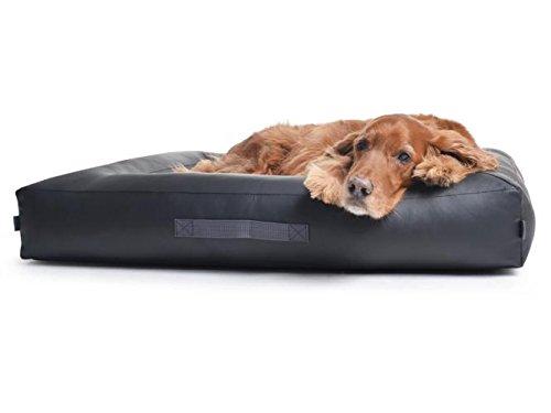 PadsForAll Hundekissen Hundebett aus kratzfestem Kunstleder, Schwarz, auf Wunsch mit orthopädisch visco Schaumstoff