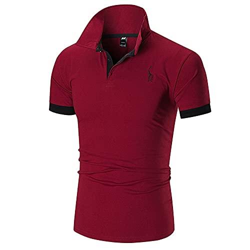 Polo Shirt Hombre Verano Básico Ajustado Elástico Hombre Shirt Moderno Cervatillo Bordado Costura Botón Placket Hombre Manga Corta Urbano Casual Sport Hombre Deportiva Camisa F-Wine Red 3XL