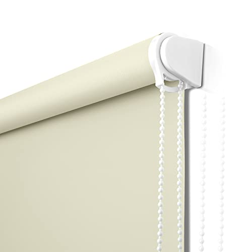 Roller Window Blinds for Bedroom, Ivory White Roller Window Shades for Door Window Thermal Insulated Fabric Shades Top Down
