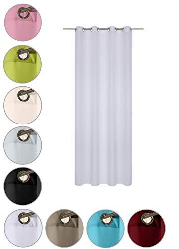 wometo Vorhang mit 8 rostfreien Metall Ösen Blickdicht 140x245 cm Türvorhang Ösenvorhang - weiß