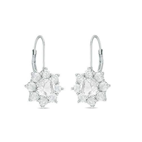 Levelback Ohrringe Silber 925 Damen mit weiß Zirkonia (white, Sterling-Silber)