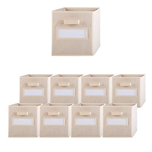 Pomatree Storage Bins - 9 Pack - Durable Storage Cubes with Label Window  2 Reinforced Handles  Fabric Cube Baskets for Organizing Closet Clothes and Toys  Foldable Shelves Organizer Beige