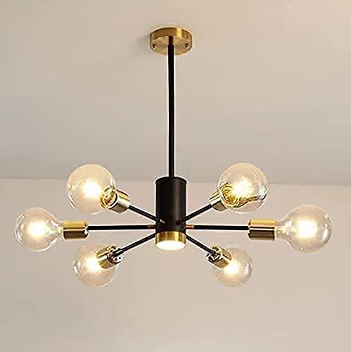 Lámparas de techo industriales, lámpara de techo Sputnik forjada, luz molecular de 6 cabezas para dormitorio, pasillo, diámetro 65 cm, bombillas no incluidas