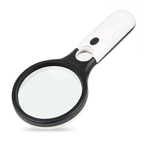 AIFHI 手持ちルーペ 3個LED付 虫眼鏡 拡大鏡 倍率3倍&20倍 ホワイト