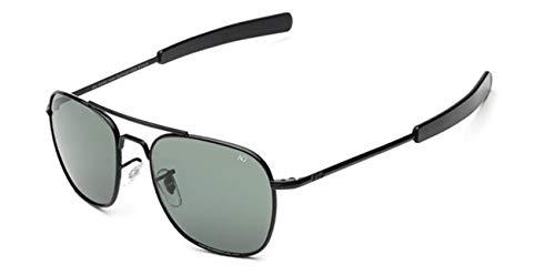 AOCCK Gafas de sol Pilot Sunglasses American Optical Glass Lens Sun Glasses Oculos De Sol Masculino grey and black