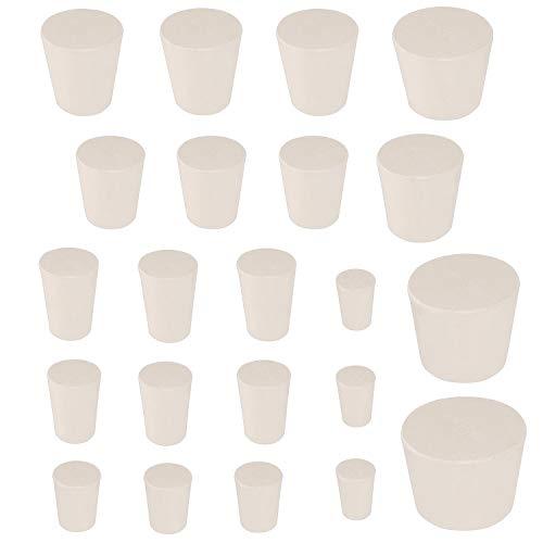 Hysagtek 22 Stück Gummistopfen, Voll Gummistopfen Weißer Laborstecker, 10 Verschiedene Größen (000# -8#)