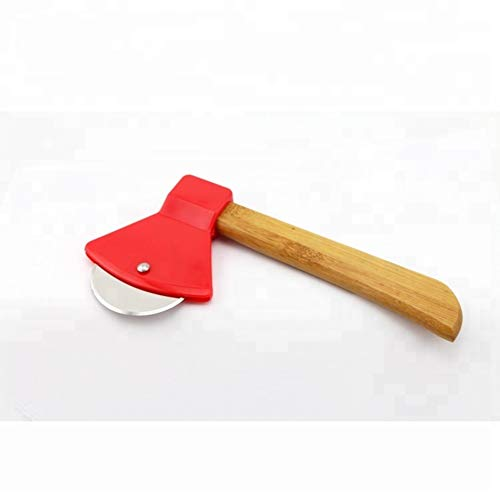 Axe Pizza Cutter with Bamboo Handle and Sharp Rotating Blade - Thacher's Nook