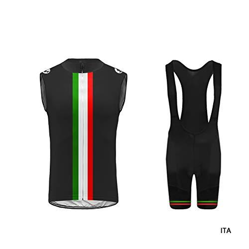 Uglyfrog Abbigliamento Ciclismo Uomo Asciugatura Veloce Maglia Senza Maniche+Pantaloncini Abbigliamento da Ciclismo MTB Sportivo da Equitazione HI2019VJT01