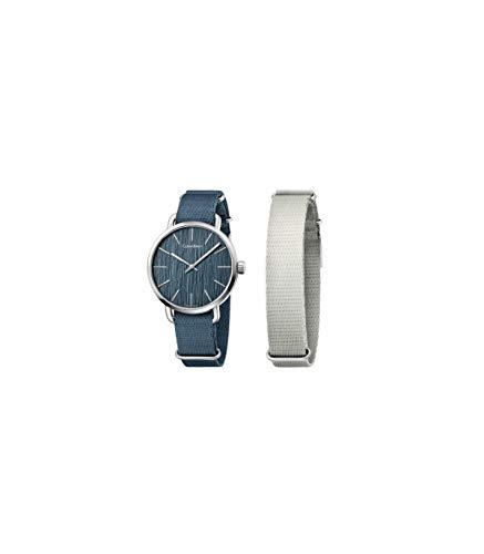 Calvin Klein Herren Analog Quarz Uhr mit Stoff Armband K7B211WL