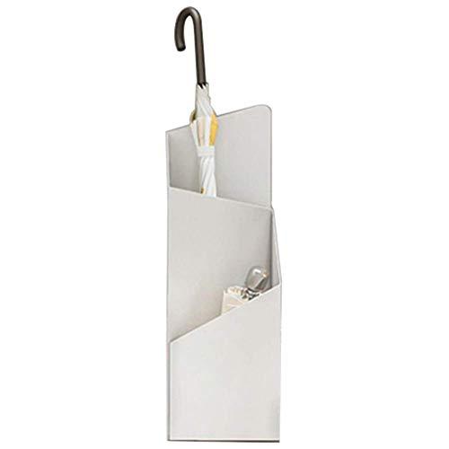 Umbrella Paragüeros Soporte de Paragüero de Metal Moderno con Diseño de 2 Compartimentos, para Decoración de Puerta de Entrada de Pasillo de Entrada,Blanco