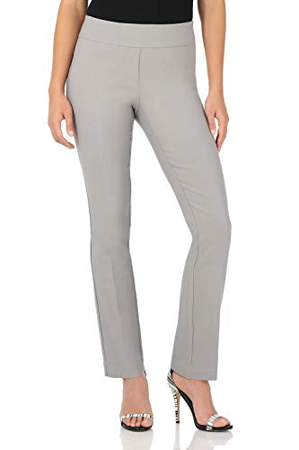 Rekucci Women's Ease Into Comfort Straight Leg Pant with Tummy Control (6, Silver)