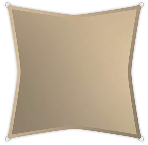 Windhager SunSail Riviera, Sonnensegel, Sonnenschutz, UV-Schutz, witterungsbeständig, wasserabweisend, Quadrat 3,6 x 3,6 m, 10889, khaki, 3,6 m