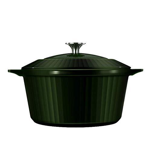 24 cm hoge kwaliteit geëmailleerde gietijzeren pan, inductie en oven Koekenpan of Braadpan en Glas deksel-Groen